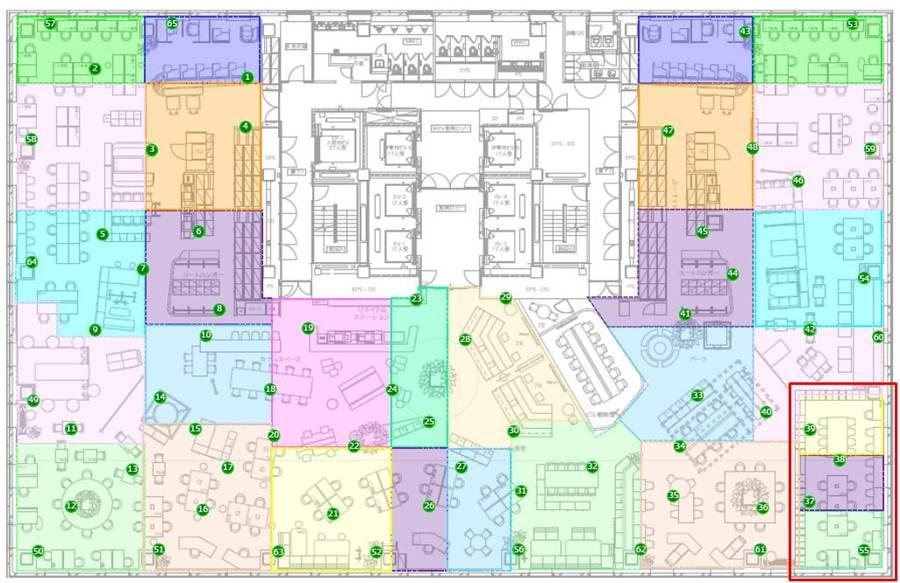 PoCの場である東京建物八重洲ビル7Fのフロア図とセンサーの配置位置。赤枠で囲ったエリアが「アトリエ」