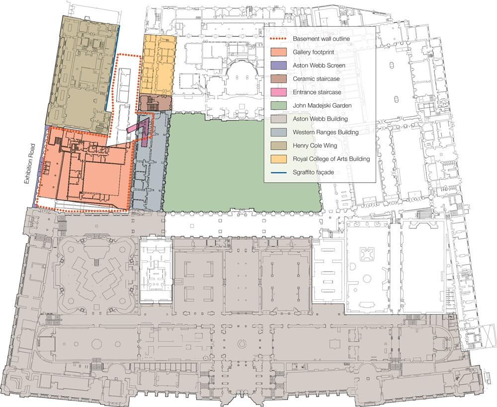 V&A博物館の配置図。今回の増築は、赤いドットで囲まれた範囲(資料:©Arup)