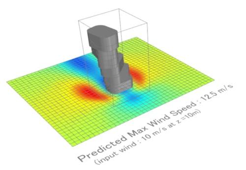 今回試作したビル風予測AIの例。インプットしたビル形状に応じて、瞬時に周囲の風速分布を予測する(資料:© Arup)
