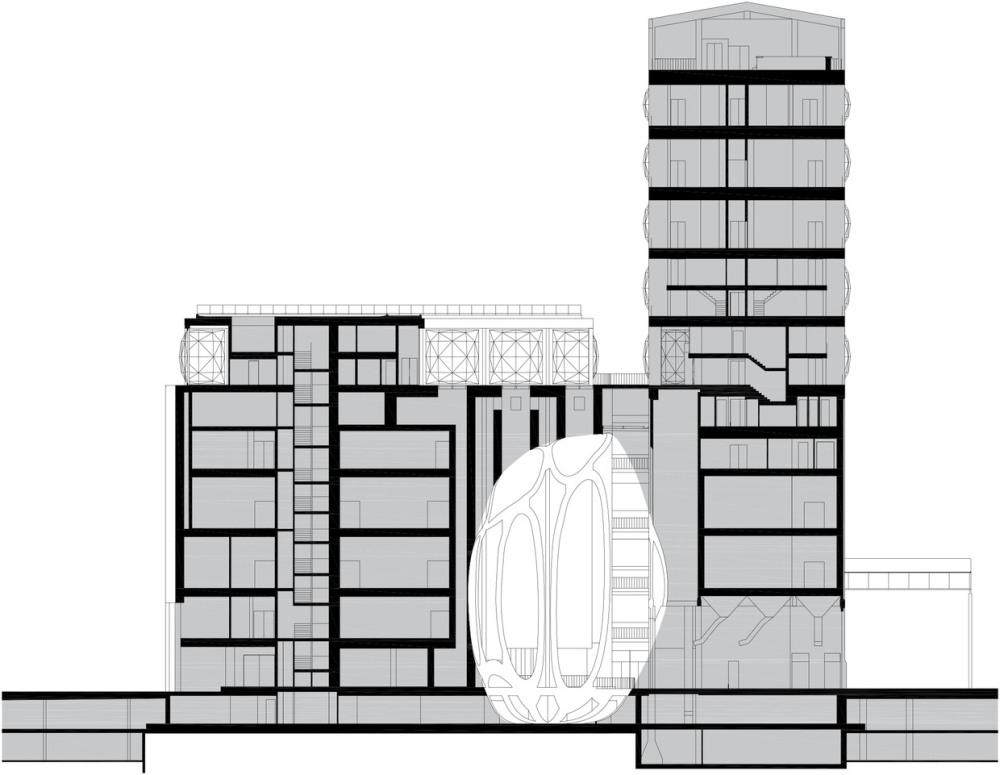 建物の中心に位置するアトリウム空間はユニークな形状をしている。貯蔵庫内部に残っていたトウモロコシの粒を3Dスキャンして拡大した形状にくり抜かれた(資料:© Heatherwick Studio)