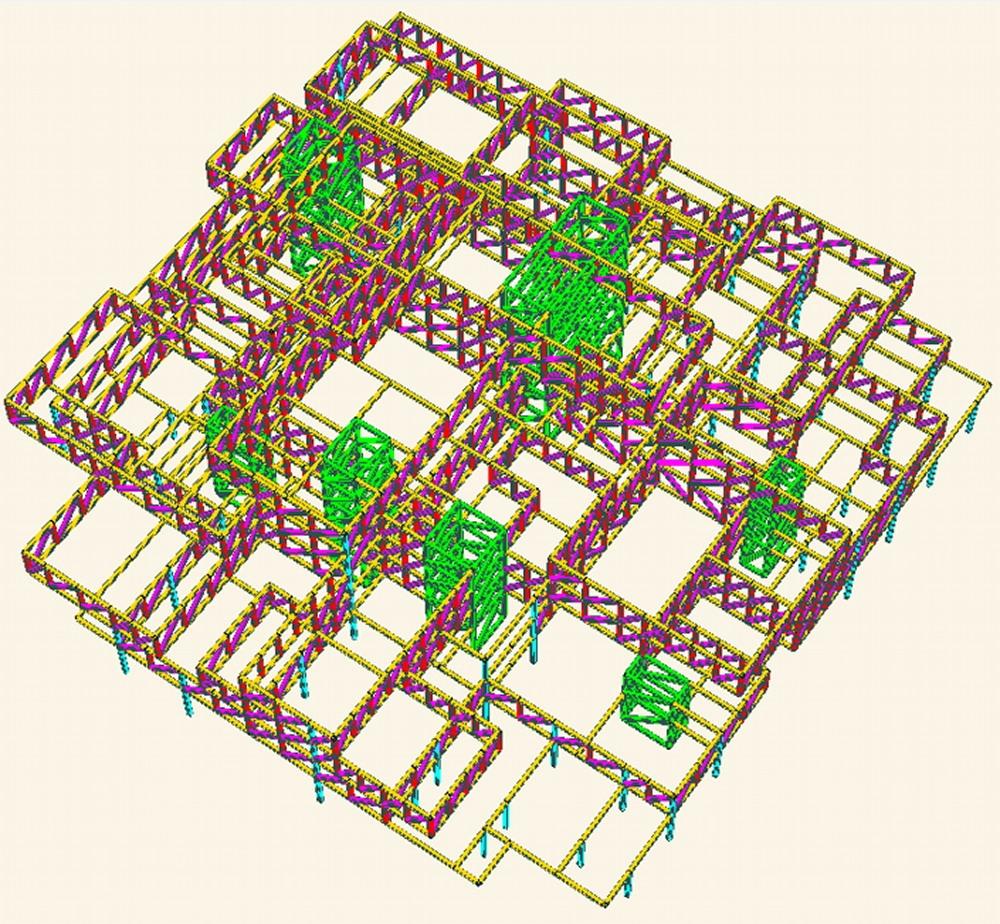 構造検討当初の48本のトラスによる架構(写真:© Arup)