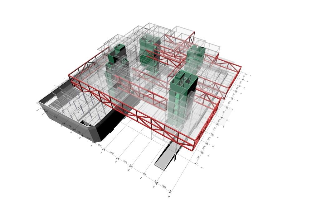 最終的に18本のトラスになったときの架構モデル。 床スラブはプレキャストコンクリート(PCa)で、厚さ400㎜。オフィスの床仕上げ材はPCaと一体化して成型され、別途床仕上げをする必要を無くした(写真:© Arup)