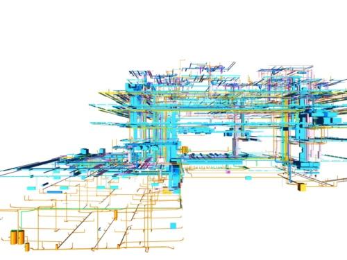 設備配管のBIMモデル。複合用途に対応するため、設備機械室を複数箇所設けることで、それぞれの設備要求を満たした(資料:© Arup)