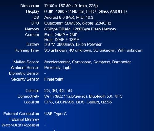 「Mi MIX 3 5G」のスペック