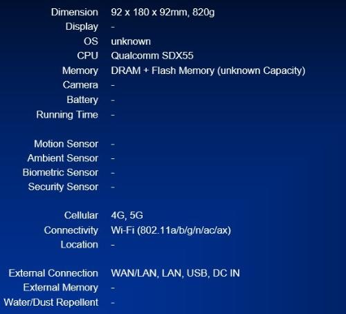 OPPO 5G CPE T1 CTA02のスペック