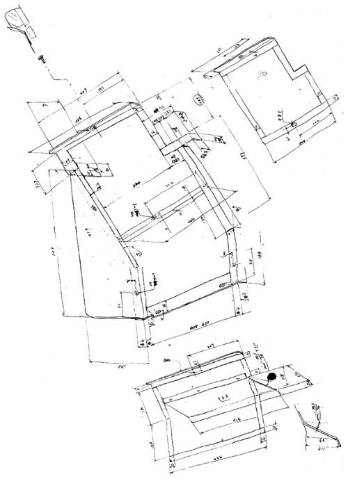 図2●フリーハンドによるポンチ絵(材料や寸法入り)