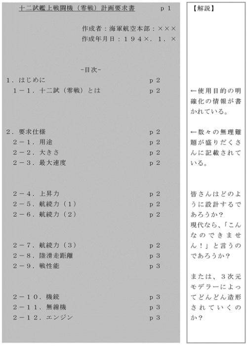 図3●零戦の企画書(その1)