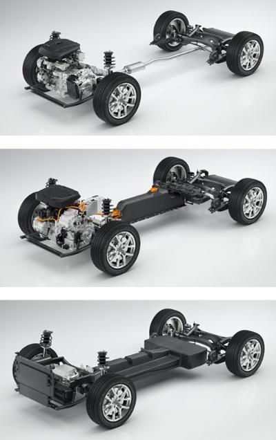 新世代プラットフォーム「CMA」はエンジン車(上)だけでなく、プラグインハイブリッド車(中央)や電気自動車(下)など多様なパワートレーンに対応できる(写真:ボルボ・カーズ)