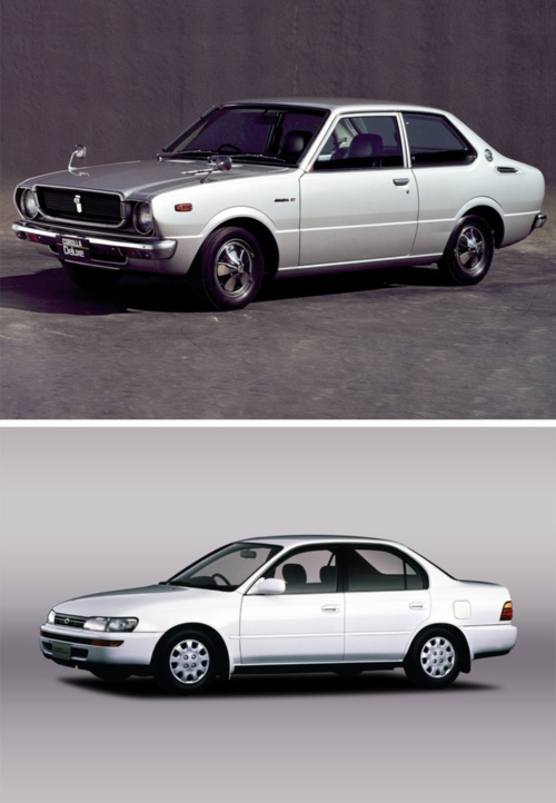 3代目カローラ「カローラ30」(上)と、7代目「カローラ」(下)(写真:トヨタ自動車)