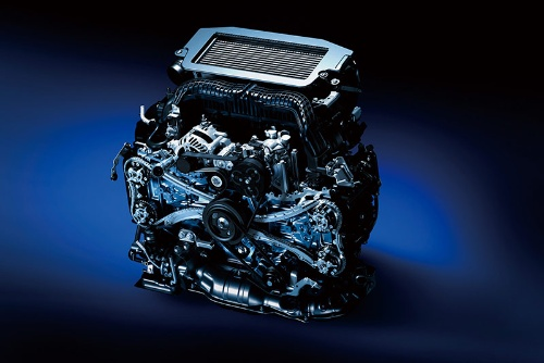 新開発の1.8L・直噴ターボの「CB18エンジン」。希薄燃焼を採用して最高熱効率40%以上を達成している(写真:スバル)