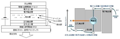 図1 基本的な有機EL素子の断面の模式図と発光機構