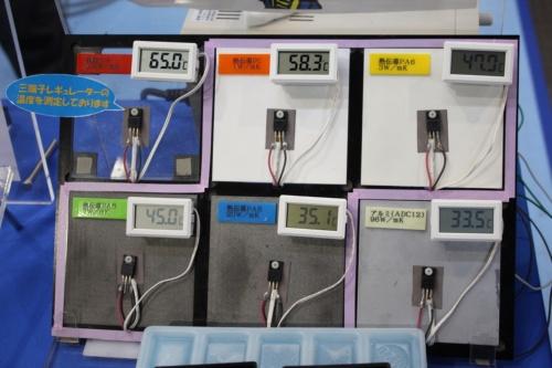 山下マテリアルの熱伝導樹脂。裏側に熱源があり、放熱性が高い素材ほど表面の温度センサーの数値が低くなる。下段中央のPA6ベースの熱伝導樹脂は、右下のアルミ合金とそれほど変わらない温度を表示している。