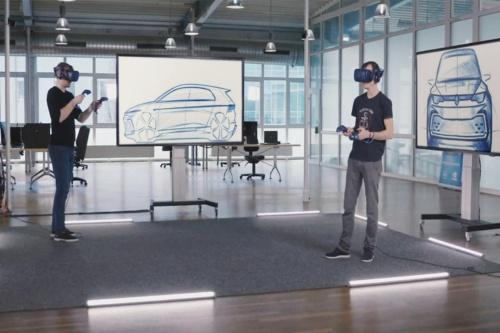 VR用ゴーグルを着けて3Dのイメージを検証中の風景