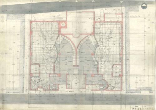 「延命湯」の1階平面図。竹原義二氏による手描き(資料:無有建築工房)