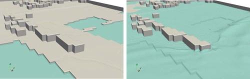 津波シミュレーションのモデル図。左が平常時、右が津波発生時
