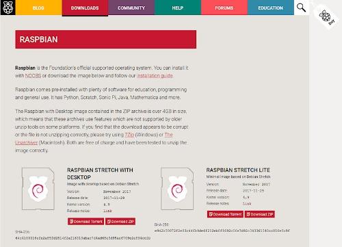 ラズパイの公式OS「Raspbian」をダウンロード
