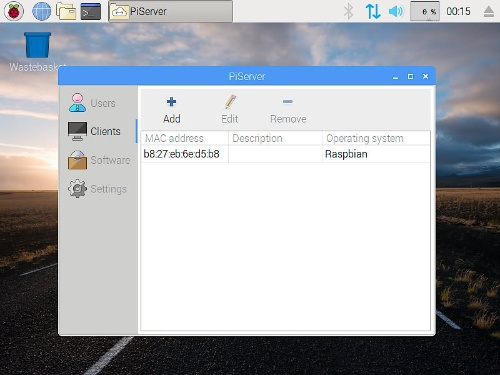 シンクライアント・サーバー「PiServer」の管理画面。ラズパイをストレージレスのシンクライアントとして利用できる