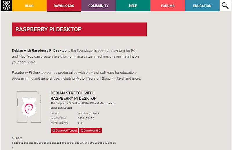 Raspberry Pi Desktop x86のISOイメージファイルをダウンロード