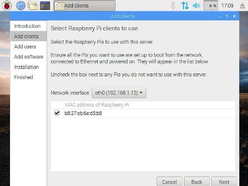 「Add clients」でPiServerにラズパイを登録
