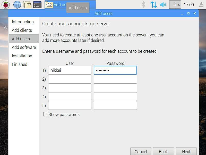 「Add users」でPiServerのユーザーを作成