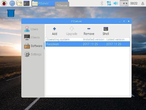 PiServerの管理画面。ユーザーやクライアントの追加、OSイメージの変更などが可能