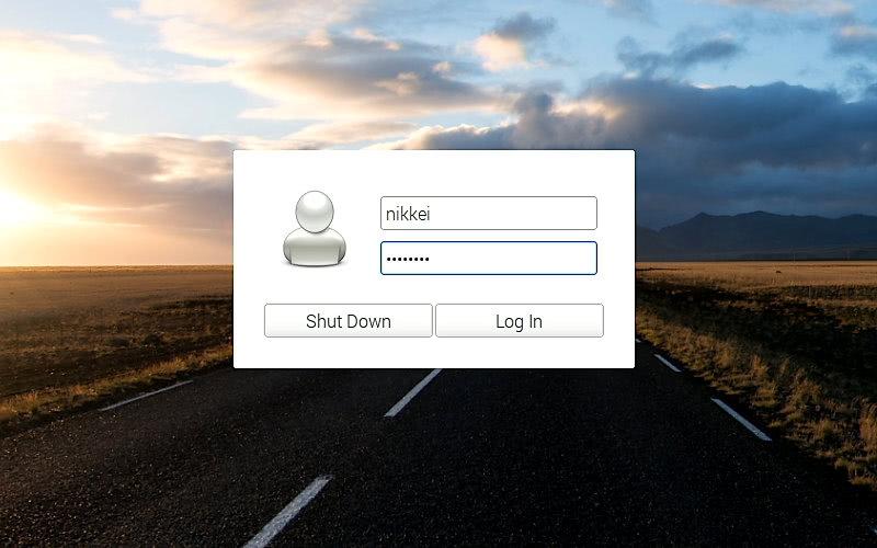 PiServerからOSイメージを取得して起動すると、ログイン画面が表示される