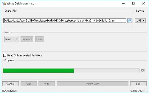 openSUSEのイメージファイルをmicroSDに書き込み。