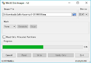PiLFSの基本イメージファイルをmicroSDに書き込み。