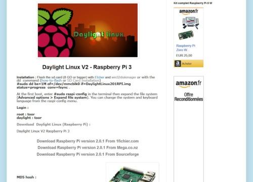 ラズパイ向けDaylight Linuxのダウンロードページ