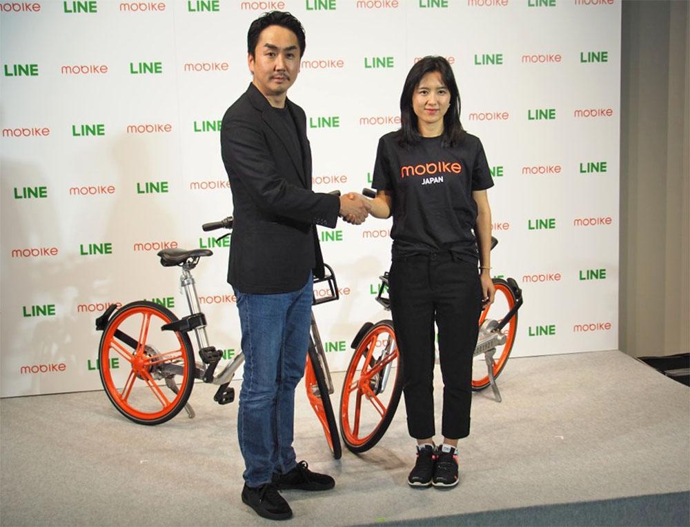 中国のシェアサイクル大手、Mobikeは日本法人を設立して日本進出に向けた準備を進めており、2017年12月にはLINEとの提携も発表している。写真は2017年12月20日のLINE・新事業展開に関する記者発表会より(筆者撮影)