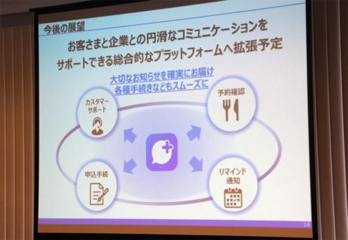 +メッセージは今後、企業とユーザーを結び付け、予約やサポート、各種申し込みなどができるプラットフォームへと拡張していく方針だという。写真は4月10日の「新たなコミュニケーションサービスについての記者説明会」より(筆者撮影)