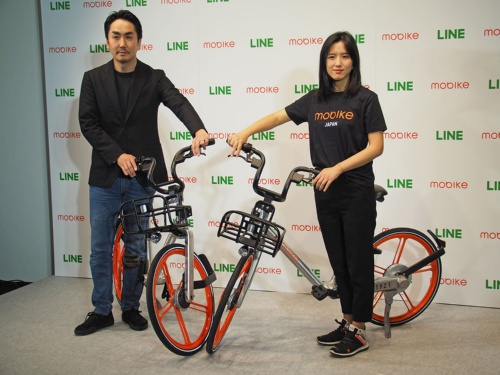 中国のシェアサイクルサービス大手の「Mobike」の日本法人であるモバイク・ジャパンは、2017年よりLINEと提携して日本での事業を拡大しようとしていた。写真は2017年12月20日のLINE・新事業展開に関する記者発表会より(筆者撮影)