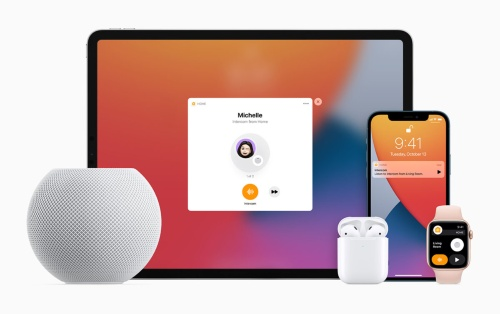 HomePod miniから他のアップル製品に音声メッセージを送信できる「インターコム」機能も搭載。家庭内にHomePod miniを複数設置して利用することを想定した機能といえそうだ