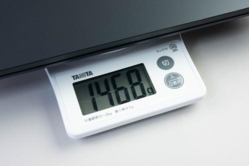 キッチンスケールで測定したところ重量は1468gだった