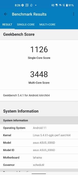 Geekbenchアプリでベンチマークを測定。高いスコアが出た