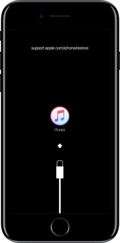 iPhoneをケーブルでパソコンに接続し「リカバリーモード」にすると、このような画面になる。リカバリーモードに移行する方法は機種ごとに違う