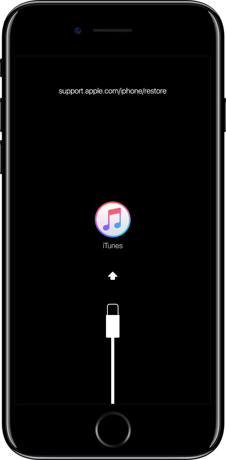 iPhoneをケーブルでパソコンに接続し「リカバリーモード」にすると、このような画面になる。リカバリーモードに移行する方法は機種ごとに違う (写真:伊藤朝輝)
