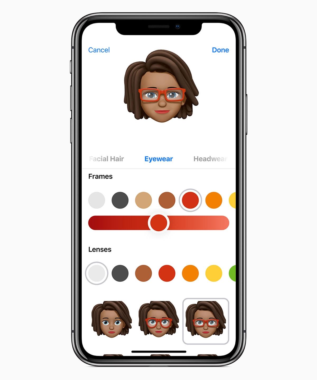 端末内に自分のアバターを作り、「メッセージ」アプリや無料ビデオ通話アプリの「FaceTime」などで使える「ミー文字」。自分の表情がリアルタイムに反映される (出所:アップル)