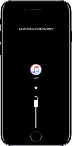 端末をケーブルでパソコンに接続しiTunesを起動し、端末をリカバリーモードにする。