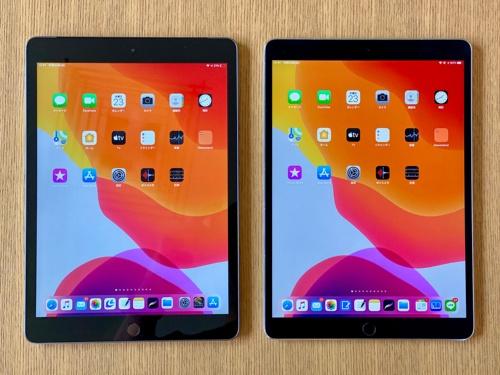 左が「iPad(第7世代)」で、右が「iPad Pro(10.5型)」。iPad Pro(10.5型)は「iPad Air(第3世代)」と画面やきょう体のサイズは同じなので、見た目の比較にはなるだろう。遠目からでは区別が難しくなった