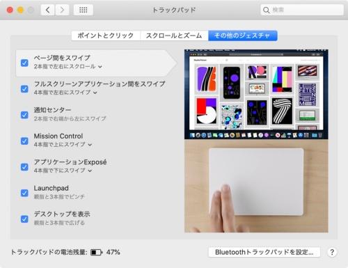 MacにMagic Trackpad 2を接続したときに表示される設定画面。これらのジェスチャーをiPadでも使いたいところ