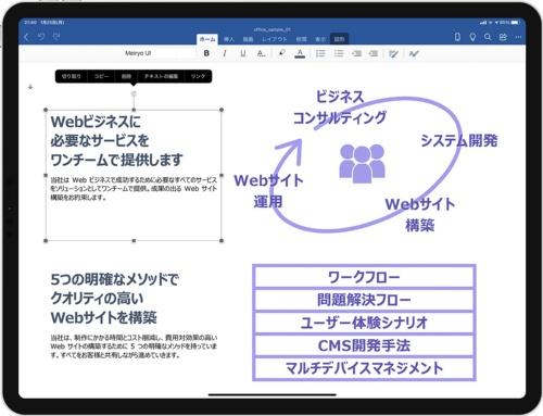 Windows版のWordで作成中の文書をiPad版のWordで開いたところ。レイアウトが乱れることなく、iPadにはない「Meiryo UI」フォントも正しく表示される