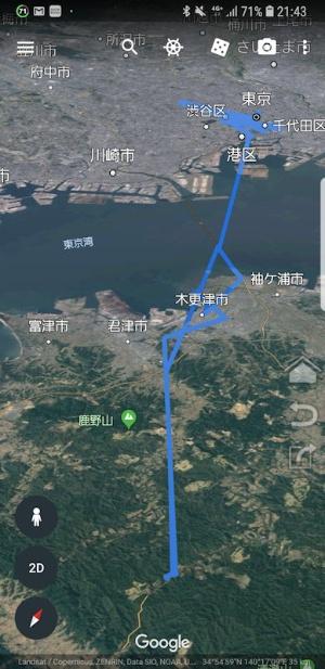 GPSログをGoogle Earthにインポートして表示した例