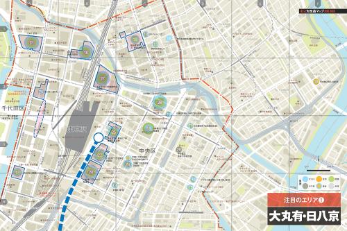 「東京大改造マップ2018-20XX」の誌面より。主要8エリアに関し、大規模開発プロジェクトの位置などを記したオリジナルマップを掲載。また23区全体の大判マップをとじ込み付録としている(資料:日経アーキテクチュア、地図制作:ユニオンマップ)
