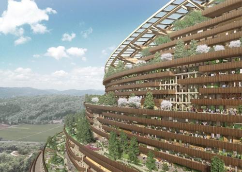 大林組が考える森林と共生する街「LOOP50」。巨大な木造建築には住宅のほかにオフィスや商業施設、学校、病院、ホテルなど街に必要な機能が備わっている(出所:大林組)