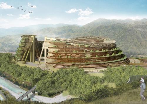 「ループ棟」と呼ばれる楕円形の木造建築。直径は650m~800m、高さは80m~120mとなる。この建物を森林に囲まれた中山間地域に建設し、約1万5000人、5500世帯が暮らす街とする(出所:大林組)