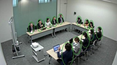 キヤノンマーケティングジャパンの「オフィス密集アラートソリューション」の画面。会議室にいる人の数をソフトで解析する(資料:キヤノンマーケティングジャパン)