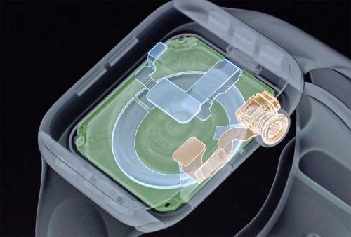 ケースの裏面とデジタルクラウンに設けられた電極が肌に接触することで心電図の計測を行うApple Watch