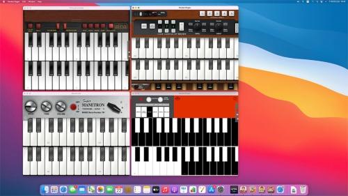 筆者開発の4つの楽器アプリを同時に起動。Mac miniにMIDI鍵盤を接続して演奏すると、4つのアプリの音が同時に鳴る。iPad版の画面が表示されている