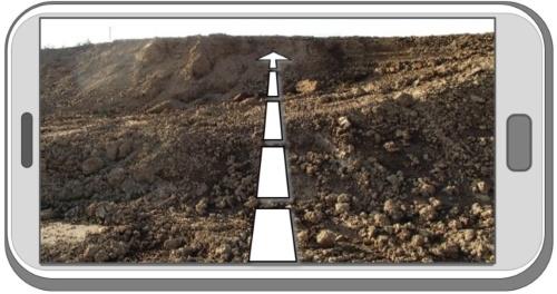 断面測量時におけるガイド線表示のイメージ(出所:大林組)